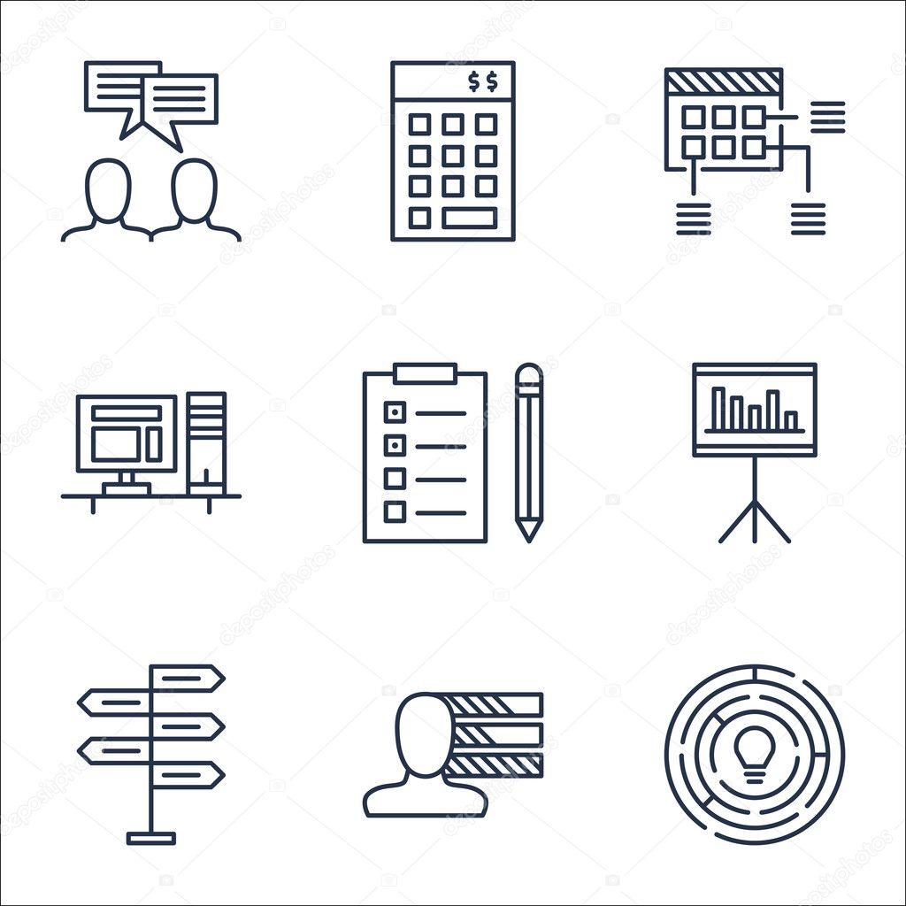 Set van Project Management iconen op de Computer, schema en ...
