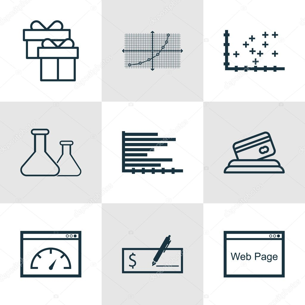 Set of 9 universal editable icons can be used for web mobile and can be used for web mobile and app design includes icons such as plot diagram website bars chart and more vector by aalbedouinail ccuart Image collections