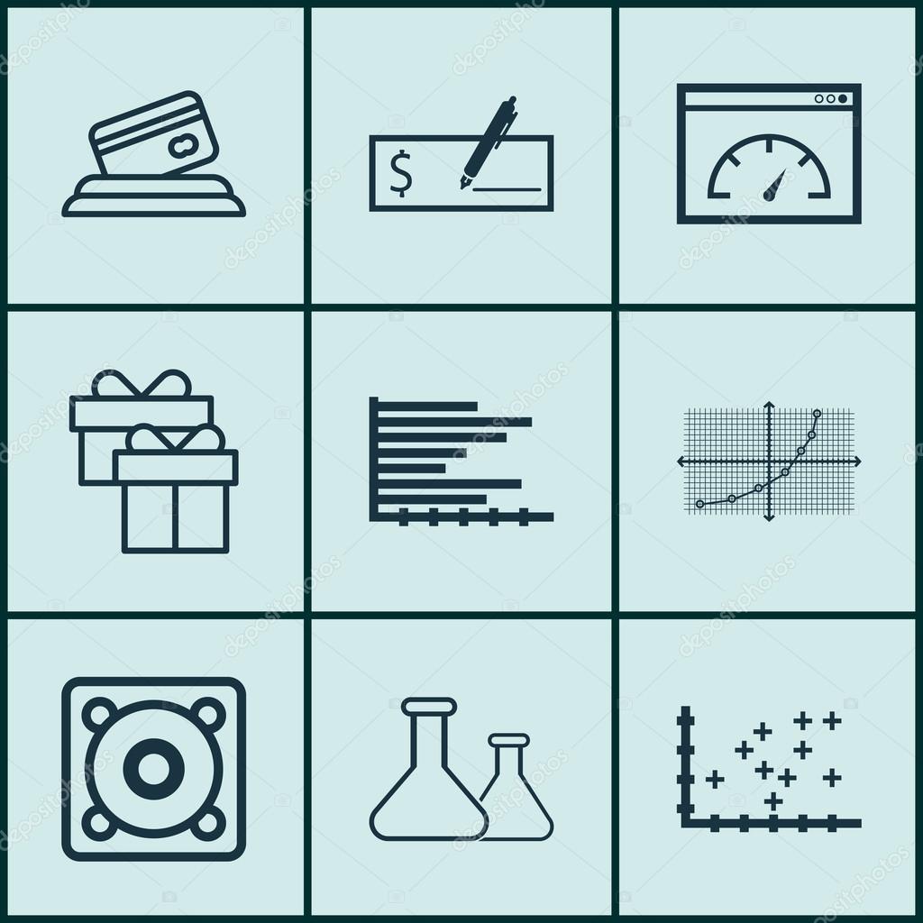 Set de 9 iconos editables Universal. Puede ser utilizado para Web ...