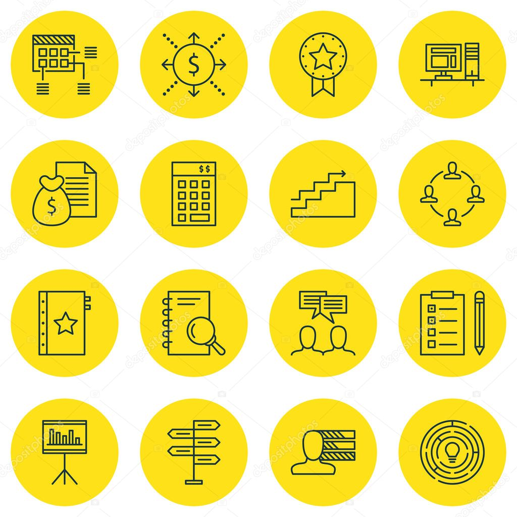 set of project management icons on innovation personal skills and