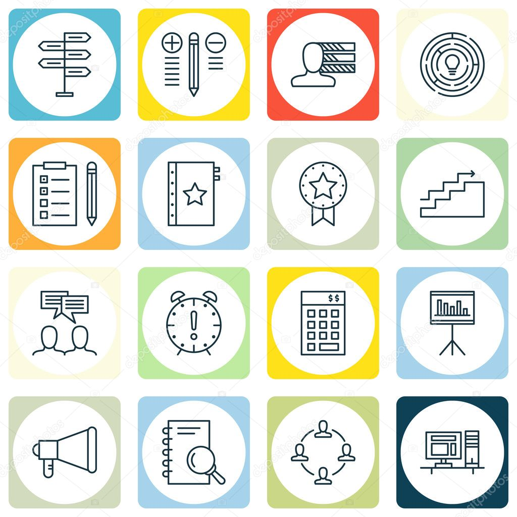 Set Of Project Management Icons On Announcement, Investment