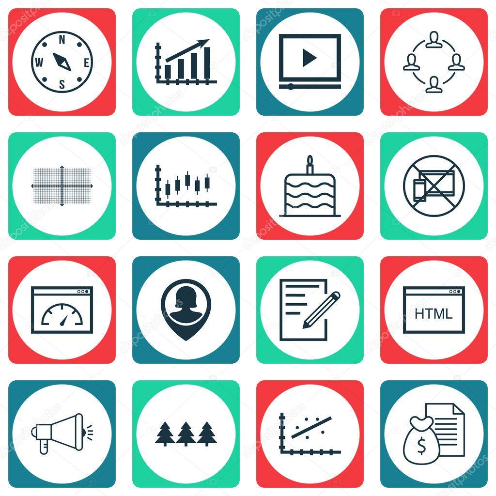 Satz von 16 universell editierbare Icons. Einsetzbar für App-Design ...