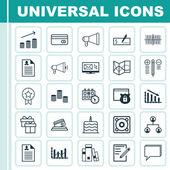 Sada 25 univerzální upravitelné ikon. Lze použít pro webové, mobilní a návrhu aplikací. Zahrnuje ikony, jako jsou bankovní platební, rozhodování, mediální kampaň a více