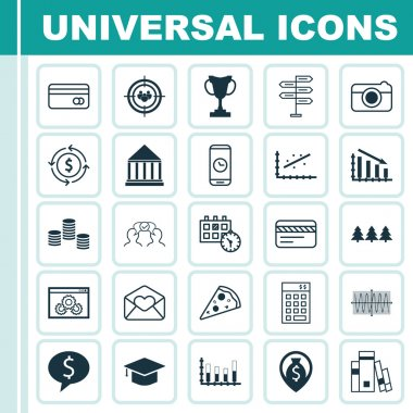 Set Of 25 Universal Editable Icons. Can Be Used For Web, Mobile And App Design. Includes Icons Such As Website Performance, Segmented Bar Graph, Bank Card And More. icon