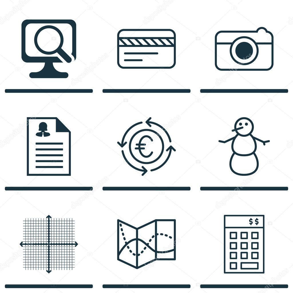 Set Of 9 Universal Editable Icons  Can Be Used For Web, Mobile And