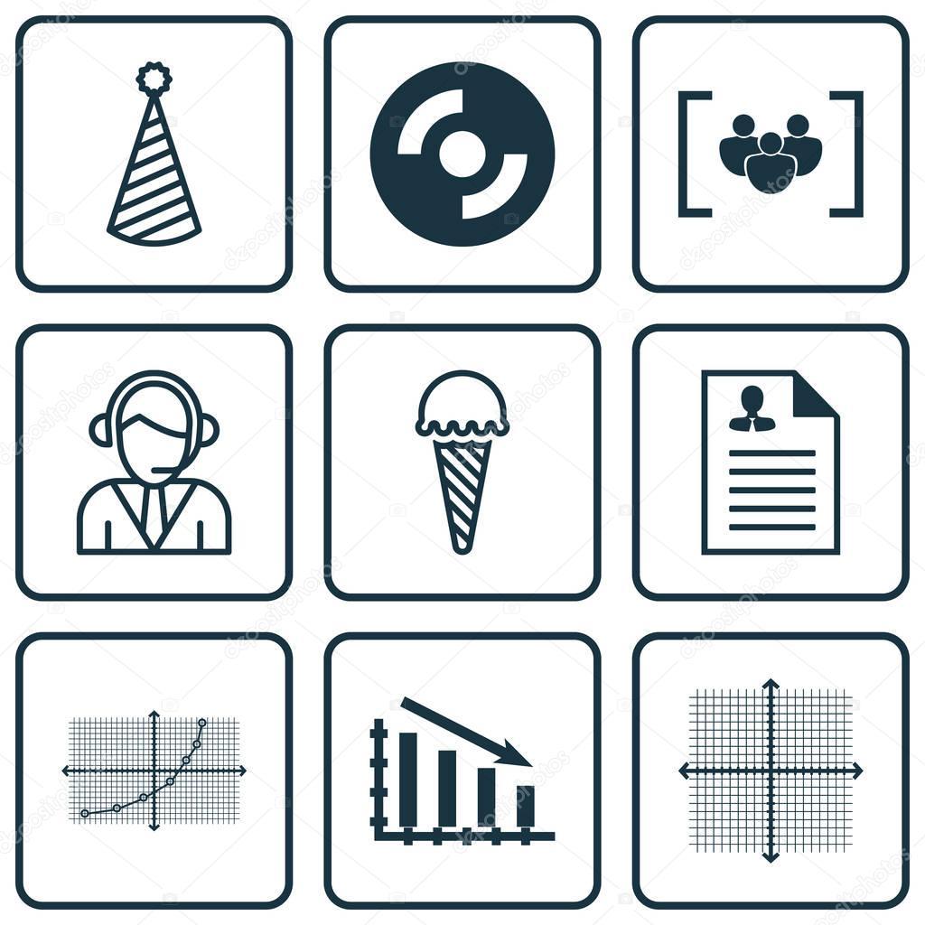 Set Von 9 Universal Editierbare Icons Einsetzbar Für App Design