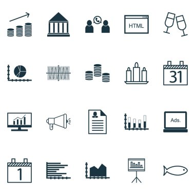 Set Of 20 Universal Editable Icons. Can Be Used For Web, Mobile And App Design. Includes Icons Such As Market Research, Presentation, Coins Growth And More.