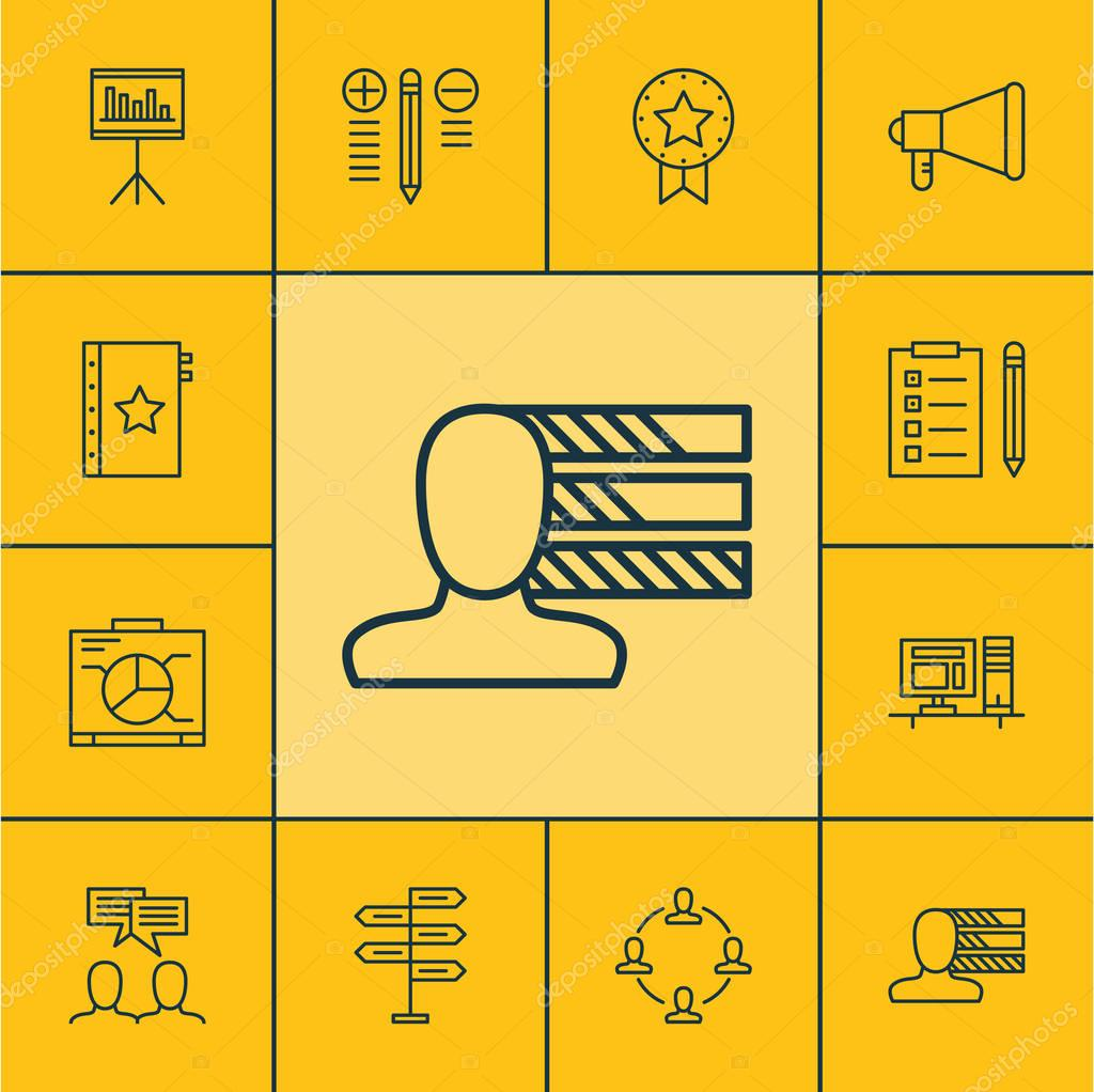Set Of Project Management Icons On Announcement, Computer