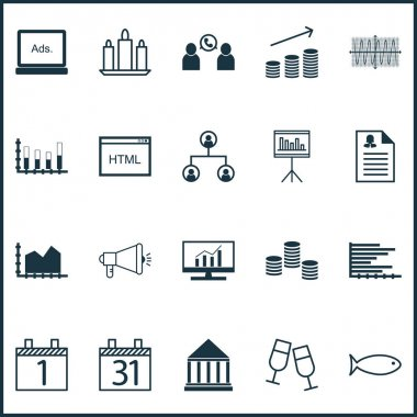 Set Of 20 Universal Editable Icons. Can Be Used For Web, Mobile And App Design. Includes Icons Such As Coins Growth, Agenda, Media Campaign And More.