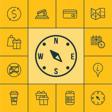 Set Of Transportation Icons On Money Trasnfer, Info Pointer And Forbidden Mobile Topics. Editable Vector Illustration. Includes Calendar, No, Cup And More Vector Icons.