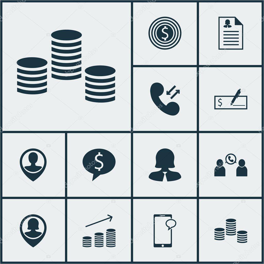 Satz von Management-Symbole auf Geschäftsziel, weibliche Anwendung ...
