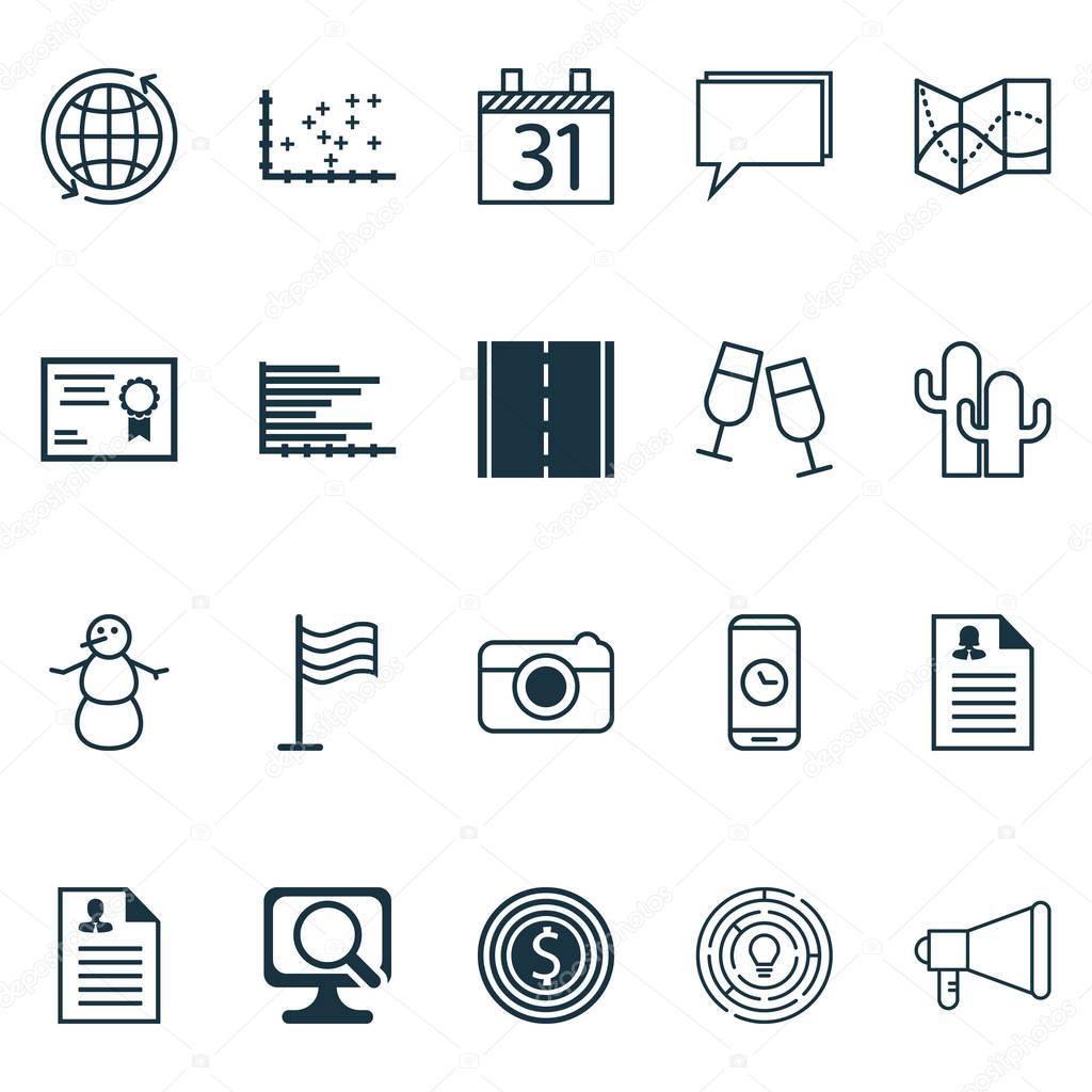 Set von 20 Universal editierbare Icons. Einsetzbar für App-Design ...