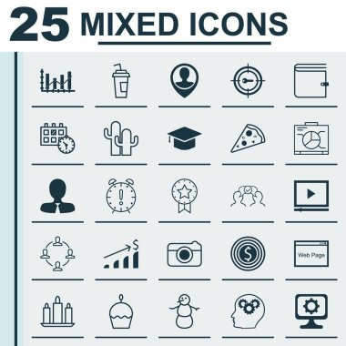 Set Of 25 Universal Editable Icons. Can Be Used For Web, Mobile And App Design. Includes Icons Such As Graduation, Website, Successful Investment And More.