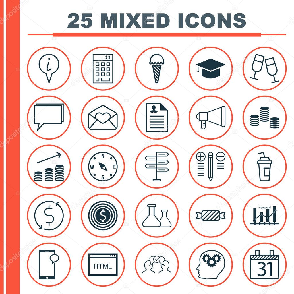 Iconos Para Curriculum Vitae Set De 25 Iconos Editables Universal