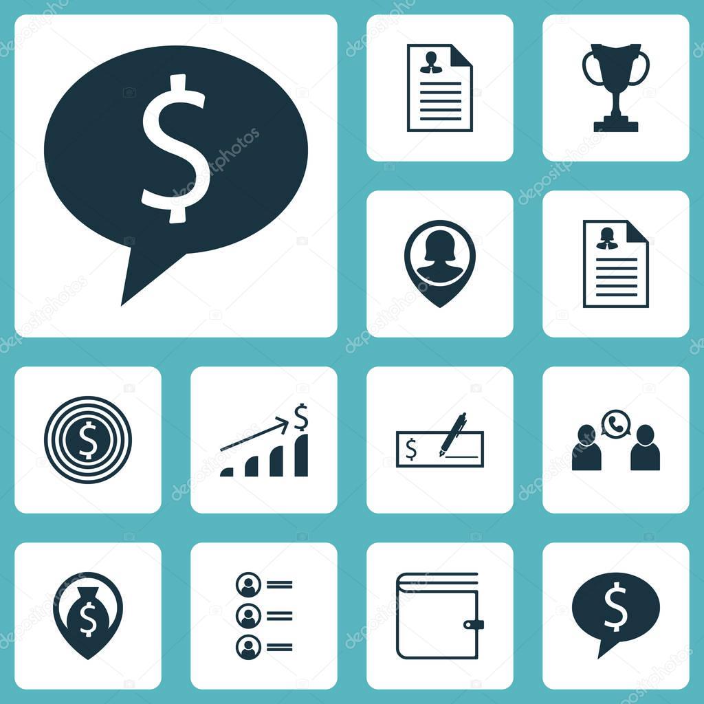 Satz von Management-Symbole auf Lebenslauf, Geld Navigation und Pin ...