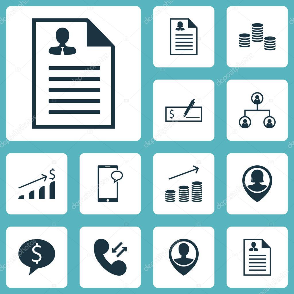 Set von Human Resources-Icons auf Mitarbeiter Lage, Struktur und ...