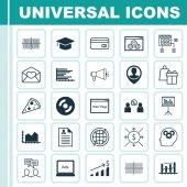 Sada 25 univerzální upravitelné ikon. Lze použít pro webové, mobilní a návrhu aplikací. Zahrnuje ikony, jako webové stránky výkon, mozek proces, pracoviště a další