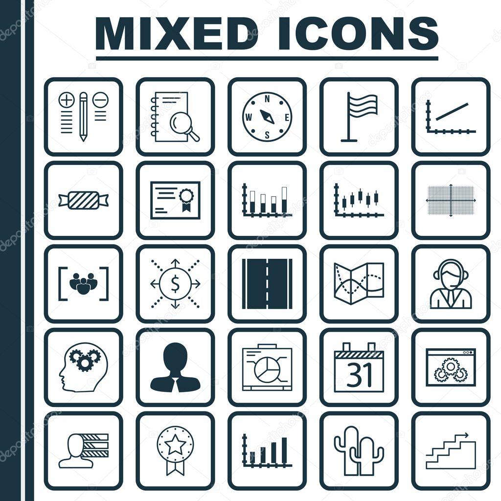 Set von 25 Universal editierbare Icons. Einsetzbar für App-Design ...