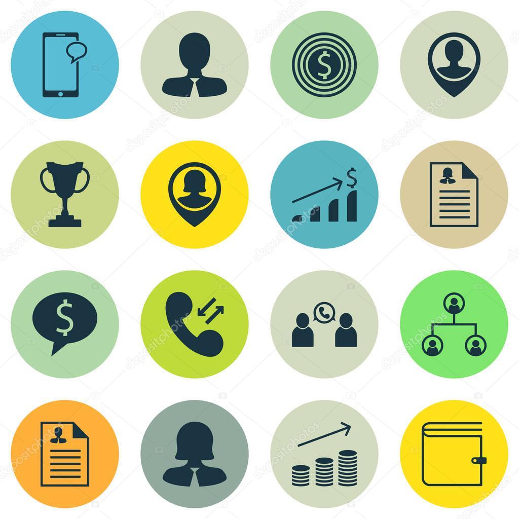 Satz von Management-Symbole auf weibliche Anwendung, Mitarbeiter ...