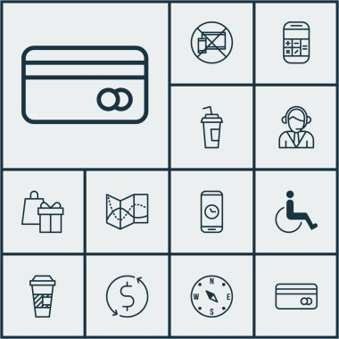 Set Of Transportation Icons On Accessibility, Takeaway Coffee And Plastic Card Topics. Editable Vector Illustration. Includes Compass, Road, Takeaway And More Vector Icons.