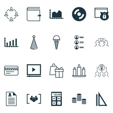 Set Of 20 Universal Editable Icons. Can Be Used For Web, Mobile And App Design. Includes Icons Such As Cooperation, Dynamics, Measurement And More. icon