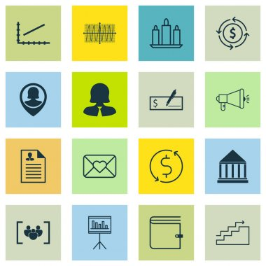 Set Of 16 Universal Editable Icons. Can Be Used For Web, Mobile And App Design. Includes Icons Such As Line Graph, Education Center, Money Trasnfer And More.
