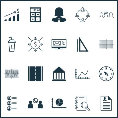 Set Of 20 Universal Editable Icons. Can Be Used For Web, Mobile And App Design. Includes Icons Such As Money, Financial, Circle Graph And More.