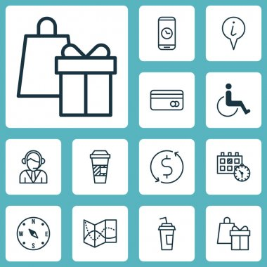 Set Of Travel Icons On Shopping, Locate And Operator Topics. Editable Vector Illustration. Includes Drink, Travel, Center And More Vector Icons.