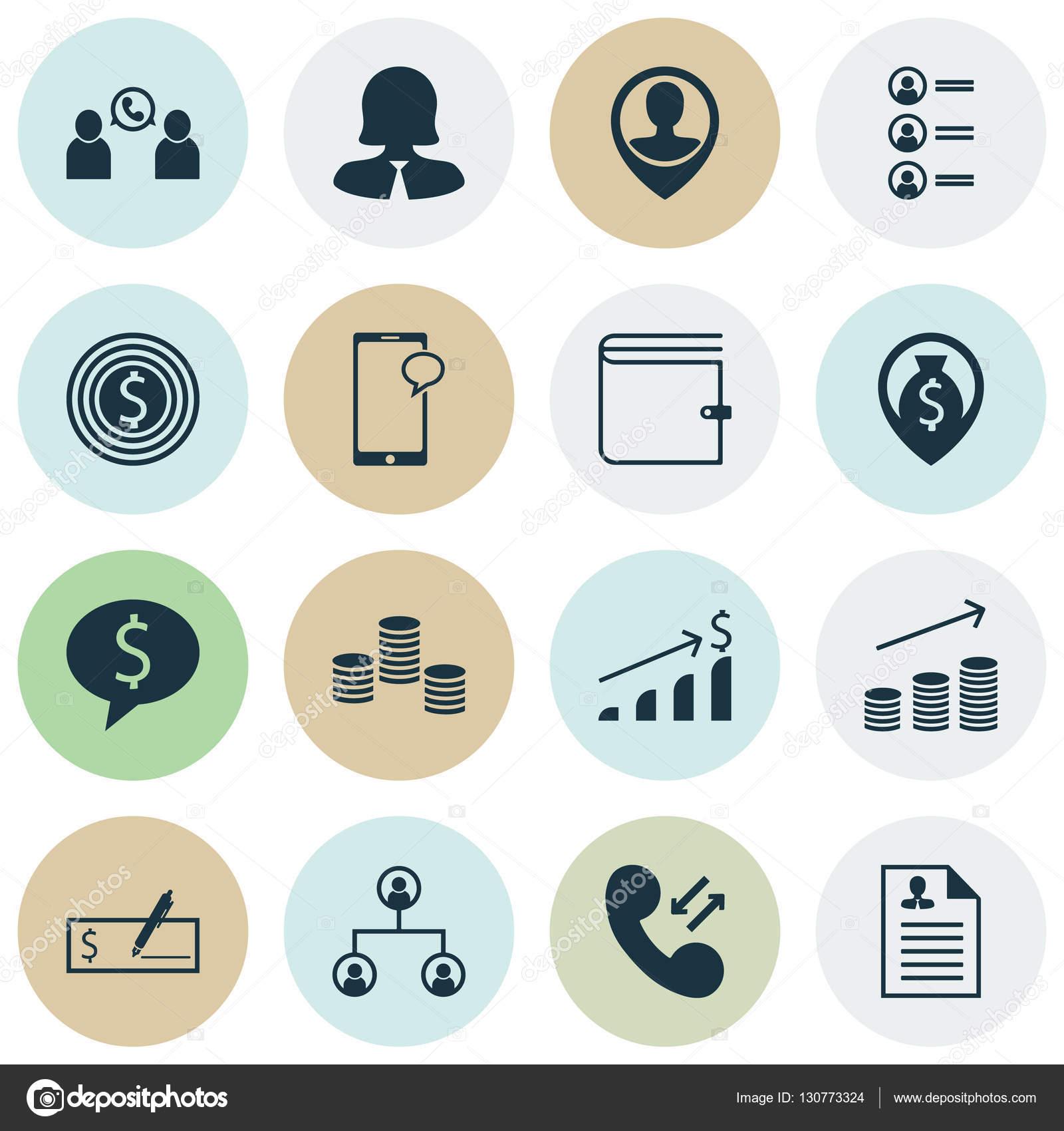 Reihe von Human Resources-Icons auf Business-Ziel, erfolgreiche ...
