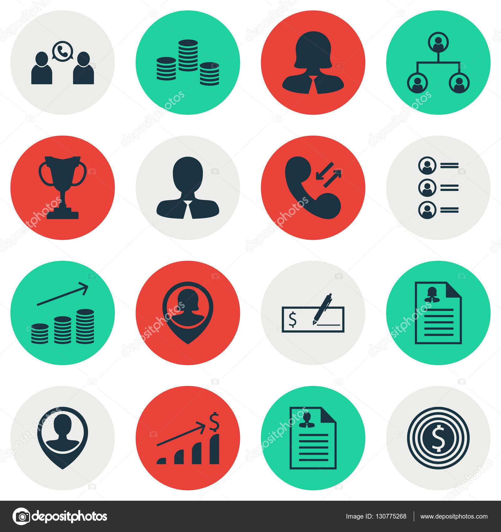 Reihe von Human Resources-Icons auf Bewerber, Manager und Business ...
