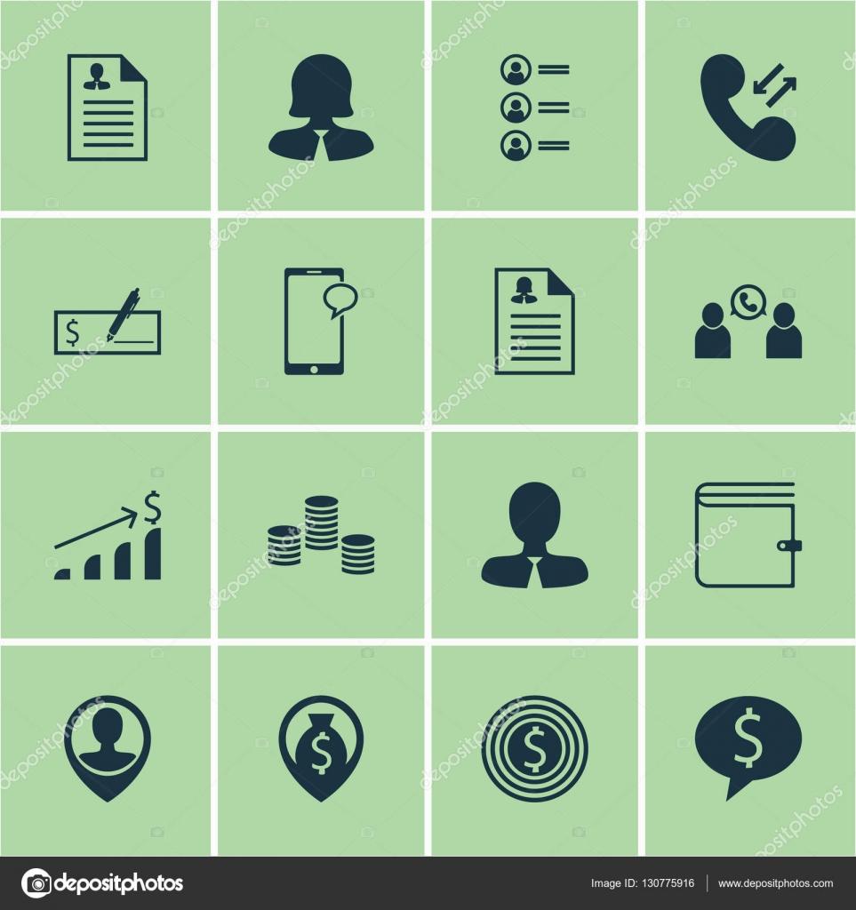 Set von Human Resources-Icons auf Lebenslauf, weibliche Anwendung ...