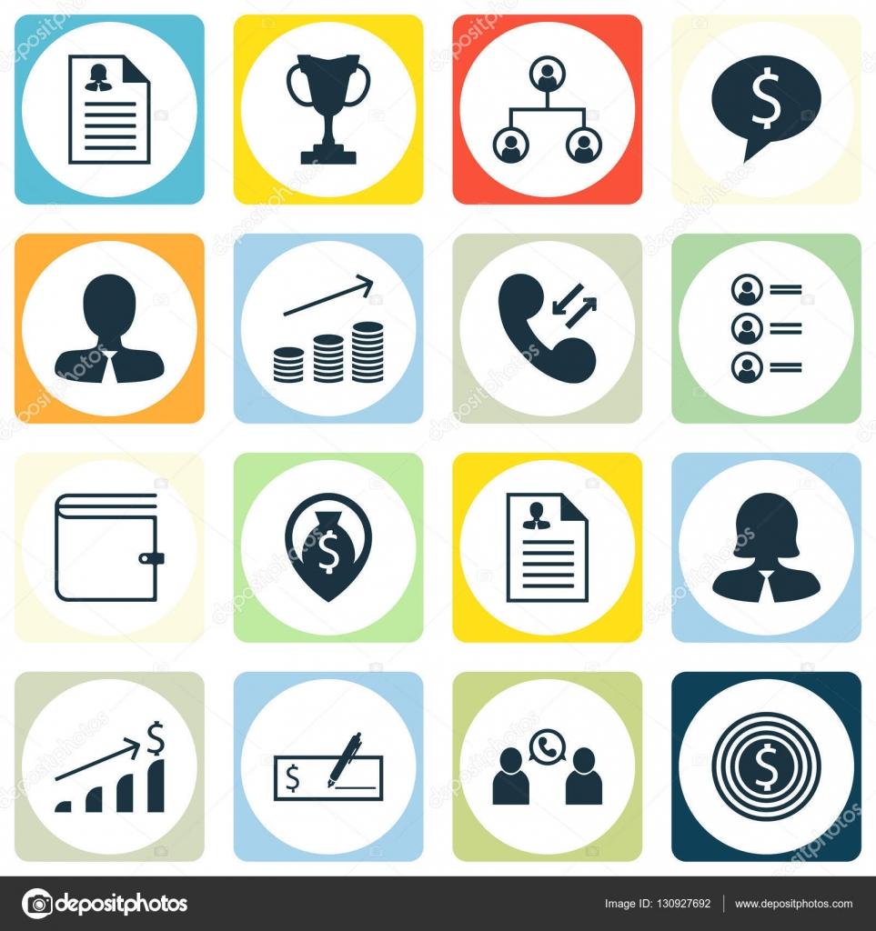 Reihe Von Management Icons Zu Wallet Weibliche Bewerbung Und
