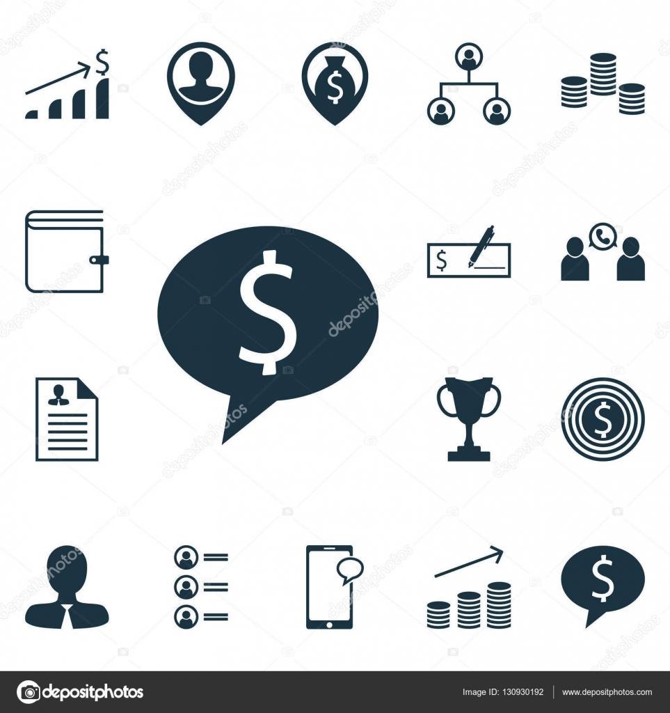 Satz von Management-Symbole auf Turnier, Manager und Münzen Wachstum ...
