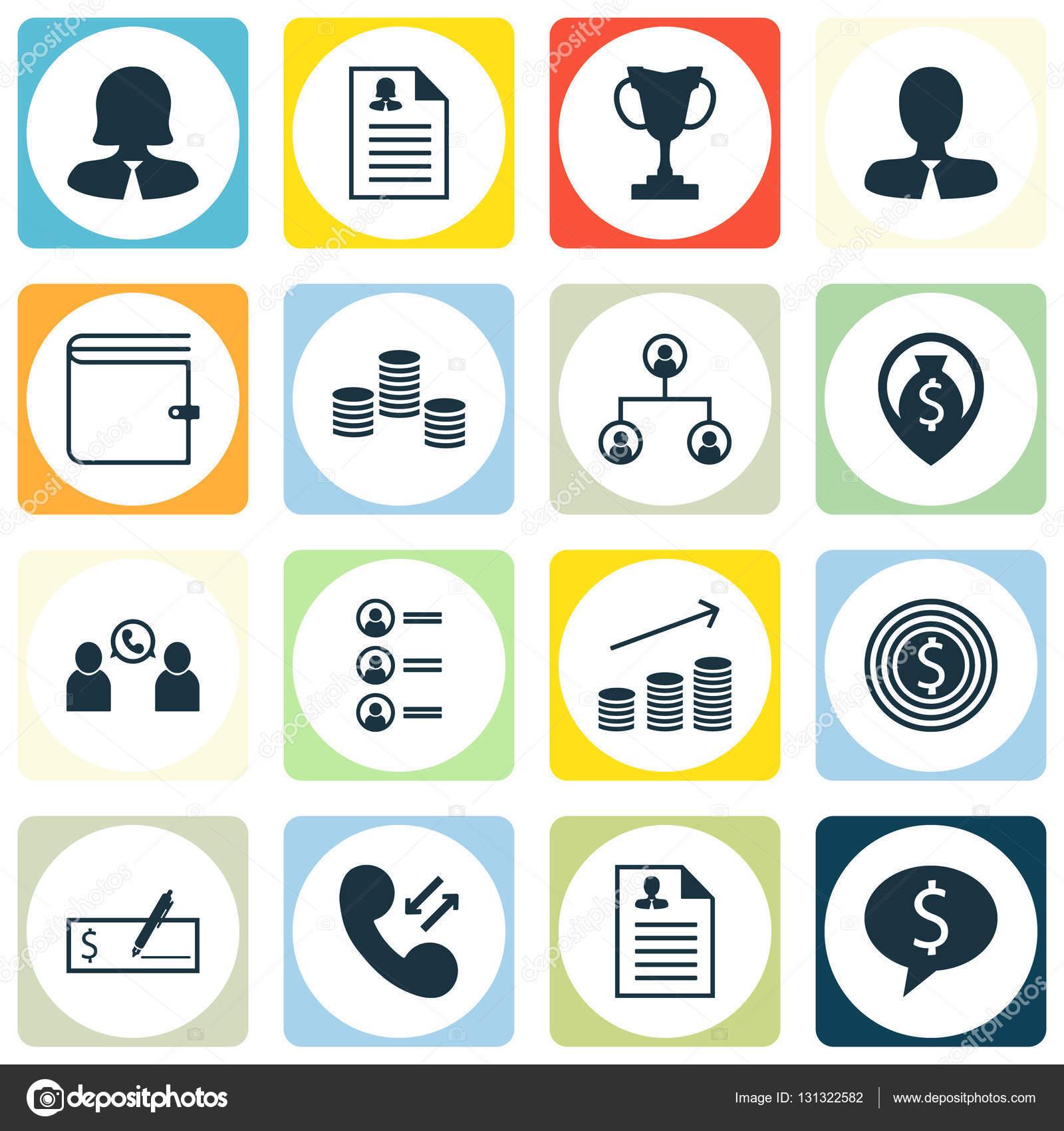 Satz von Hr-Symbole auf Lebenslauf, Manager und Business-Frau-Themen ...