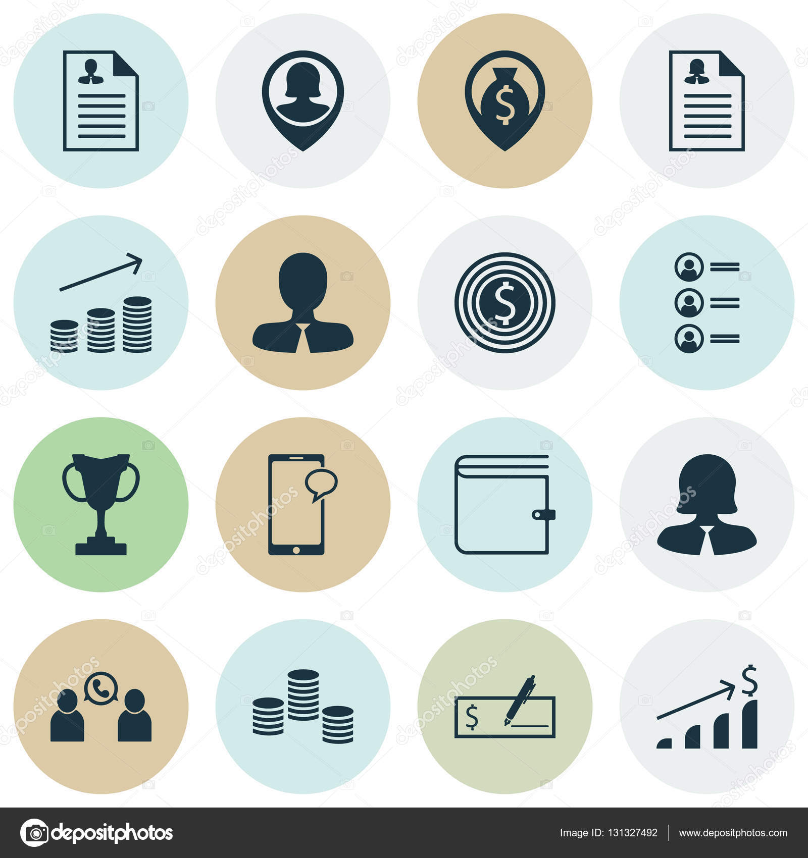 051a89fea9e5f Conjunto de iconos de recursos humanos en currículum