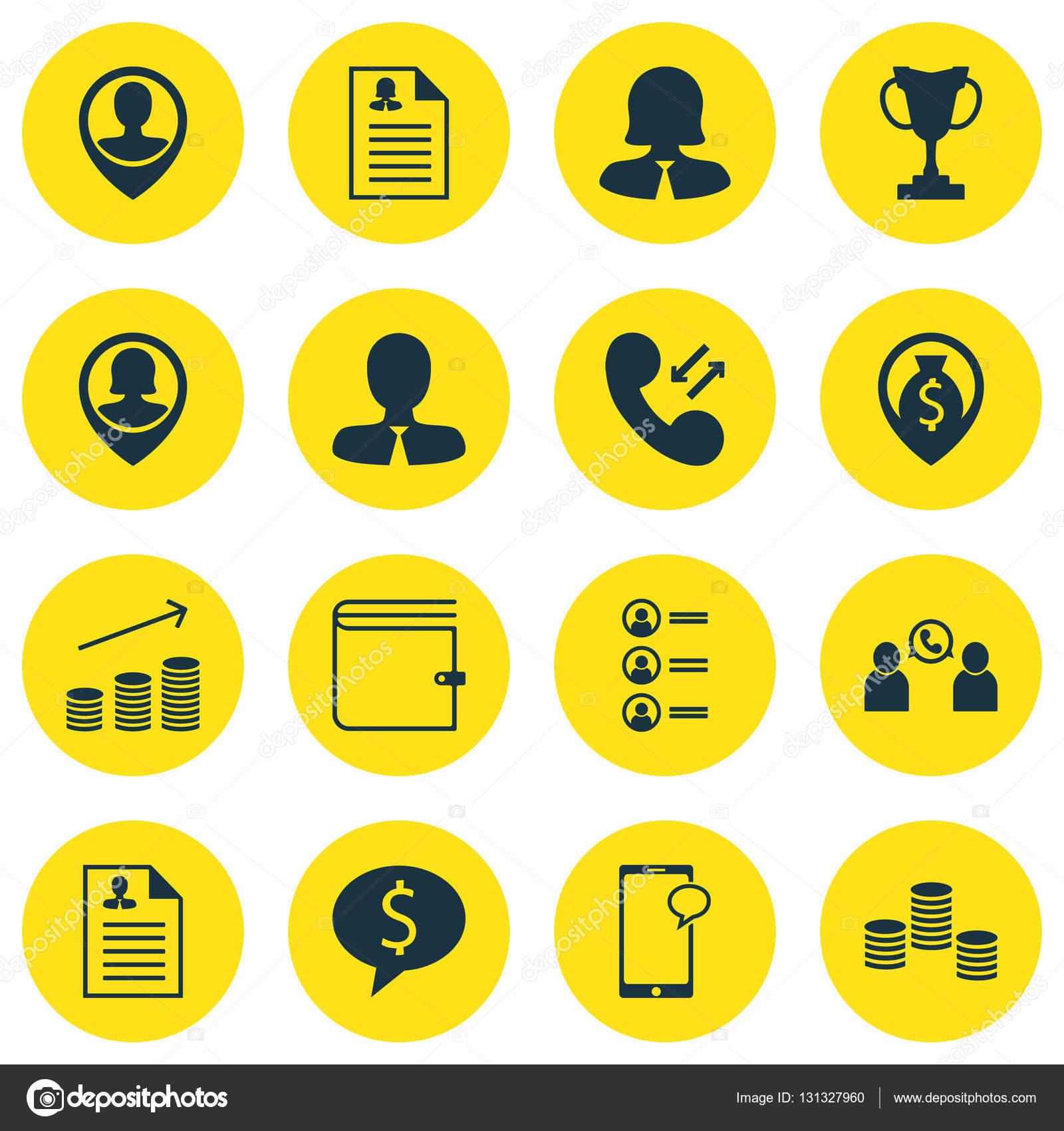 Reihe von Management-Icons zu Bewerbern, weibliche Bewerbung und ...