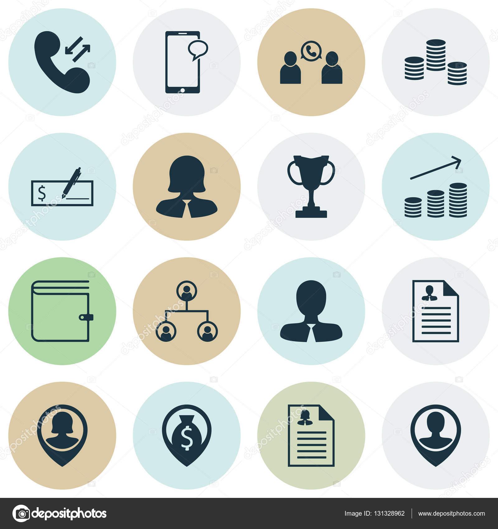 Set von Icons Hr Manager, Business-Frau und Münzen Wachstum Themen ...