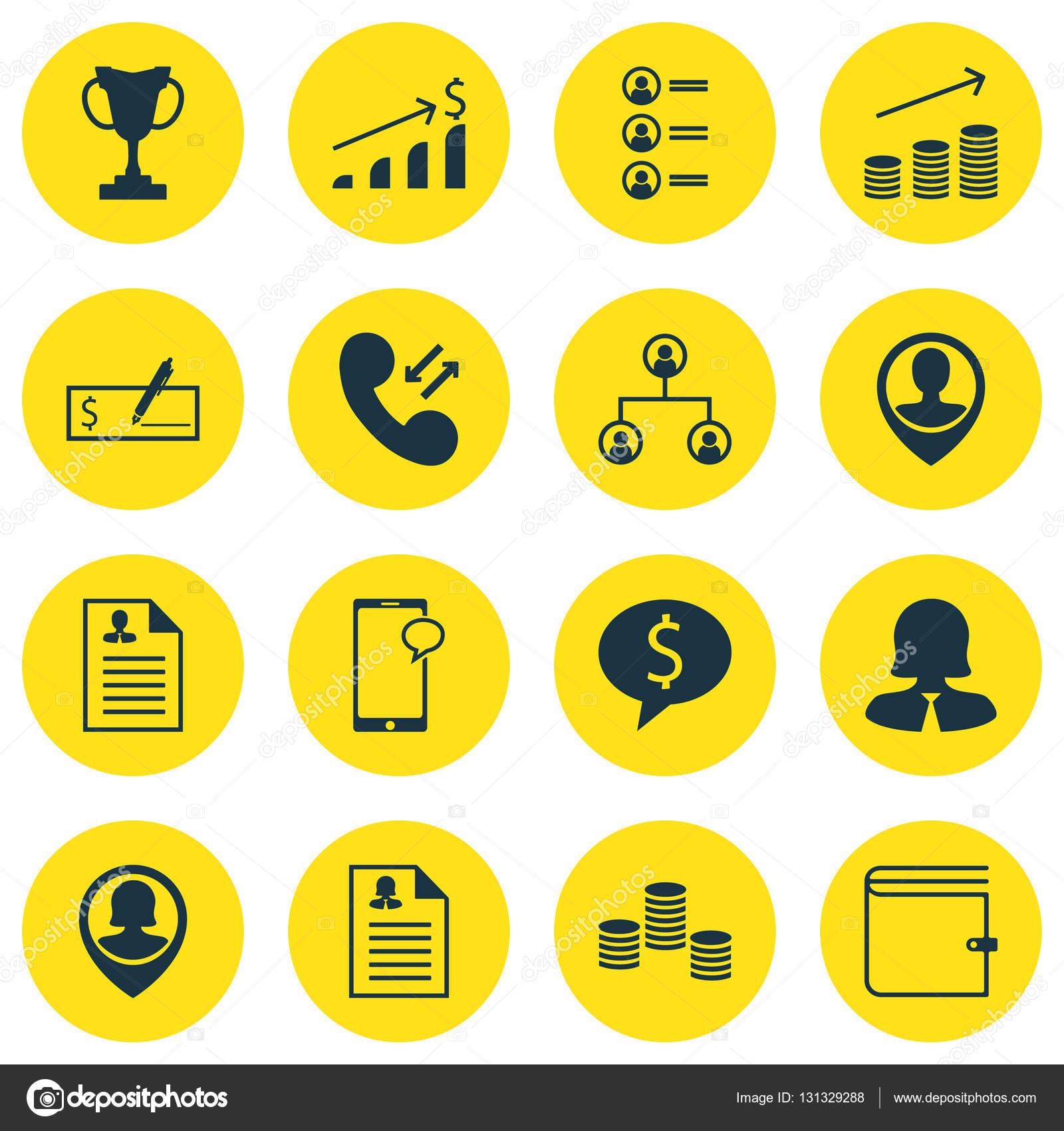 Conjunto de iconos de los recursos humanos en temas de dinero ...