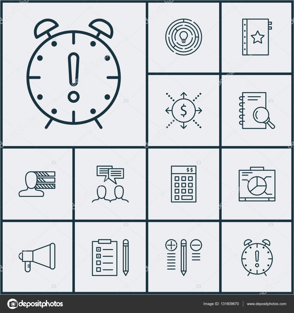 Set Of Project Management Icons On Analysis, Discussion And