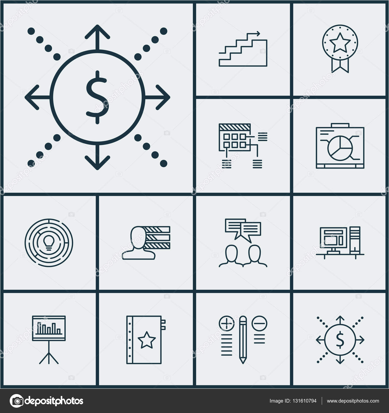 Set Of Project Management Icons On Presentation, Present