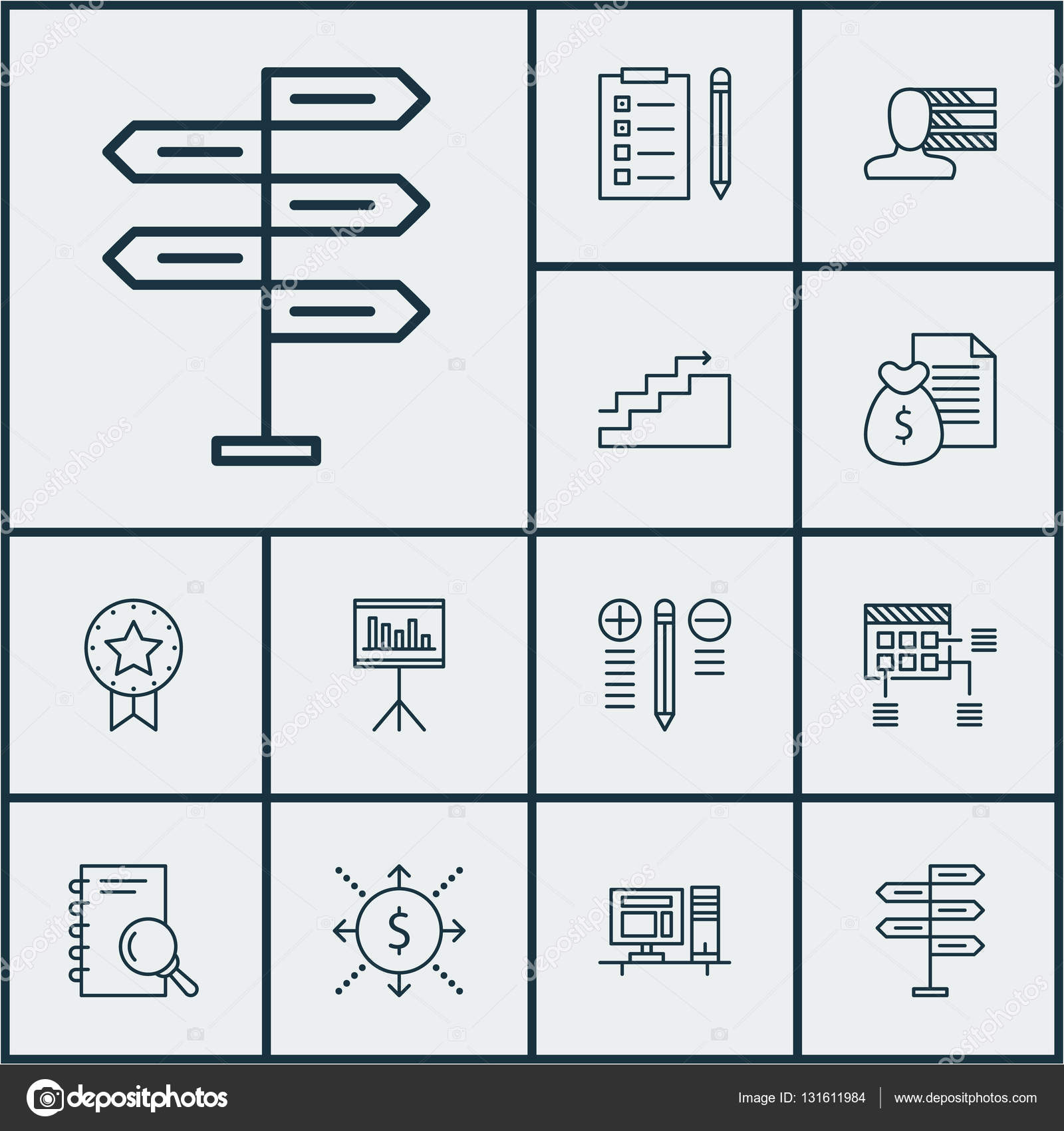 Set Of Project Management Icons On Computer, Presentation