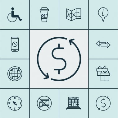 Set Of Travel Icons On Crossroad, Money Trasnfer And Airport Construction Topics. Editable Vector Illustration. Includes Exchange, Construction, Transfer And More Vector Icons.