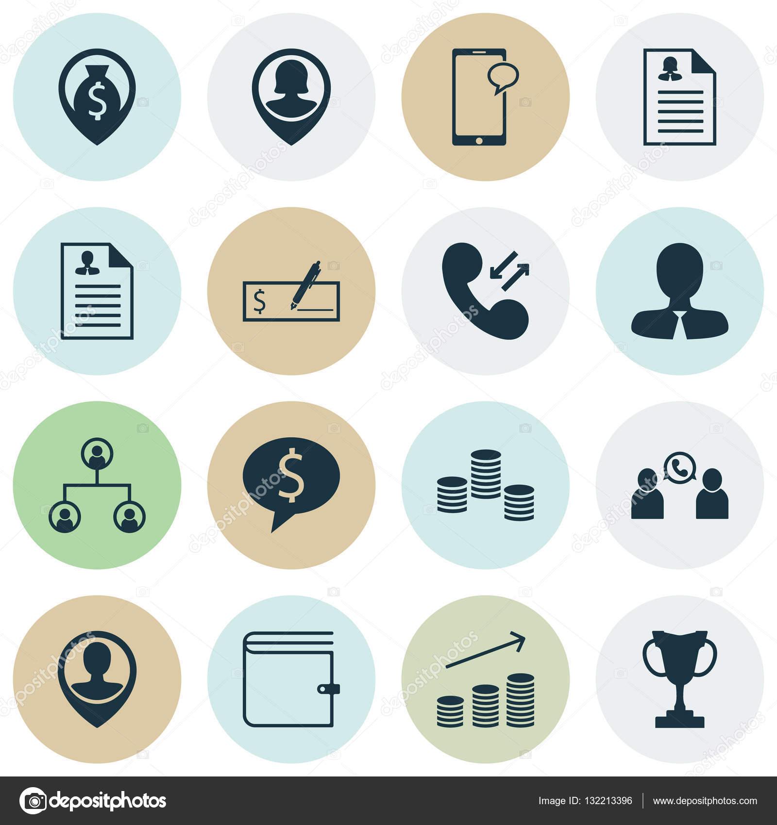 Reihe Von Human Resources Icons Auf Geschaft Lebenslauf Und
