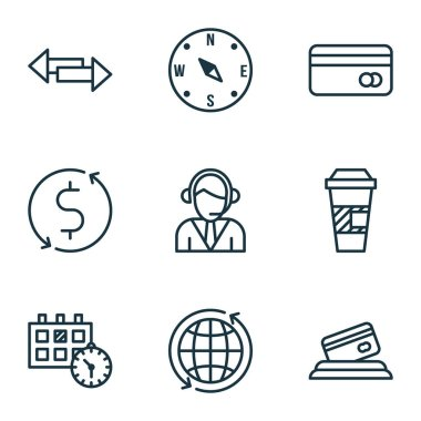 Set Of Transportation Icons On Money Trasnfer, Takeaway Coffee And World Topics. Editable Vector Illustration. Includes Appointment, Dollar, Coffee And More Vector Icons.
