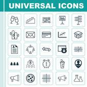Sada 25 univerzální upravitelné ikon. Lze použít pro webové, mobilní a návrhu aplikací. Obsahuje ikony otevřené karton, Analytics, rekreačních ornamentem a další