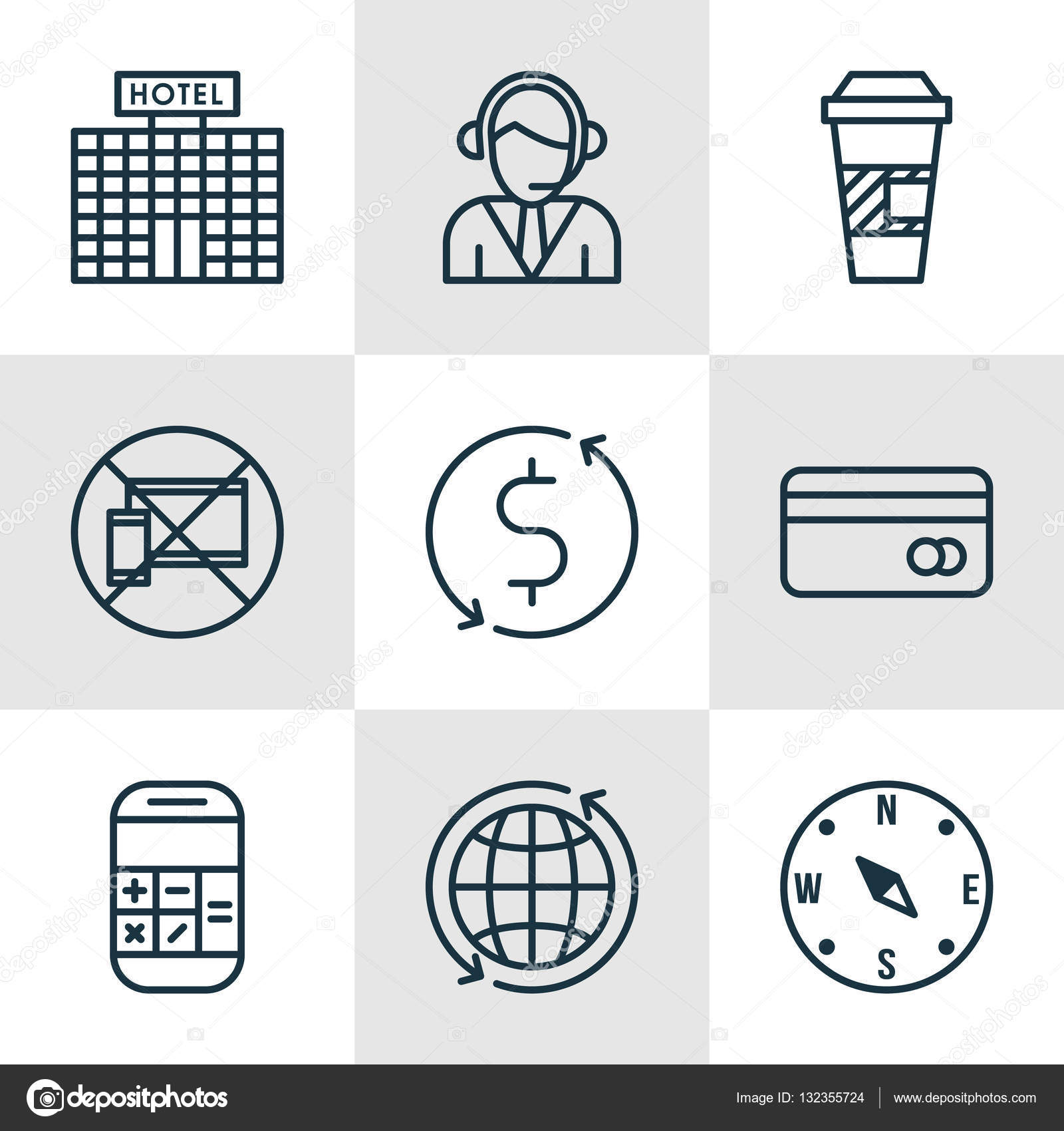 Set of transportation icons on money trasnfer forbidden mobile and editable vector illustration includes dollar math map and more vector icons vector by aalbedouinail buycottarizona Image collections