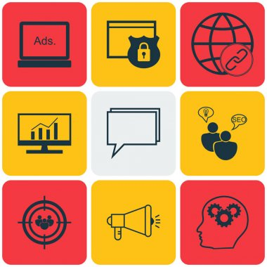 Set Of Advertising Icons On Brain Process, SEO Brainstorm And Market Research Topics. Editable Vector Illustration. Includes Online, Viral, Security And More Vector Icons.