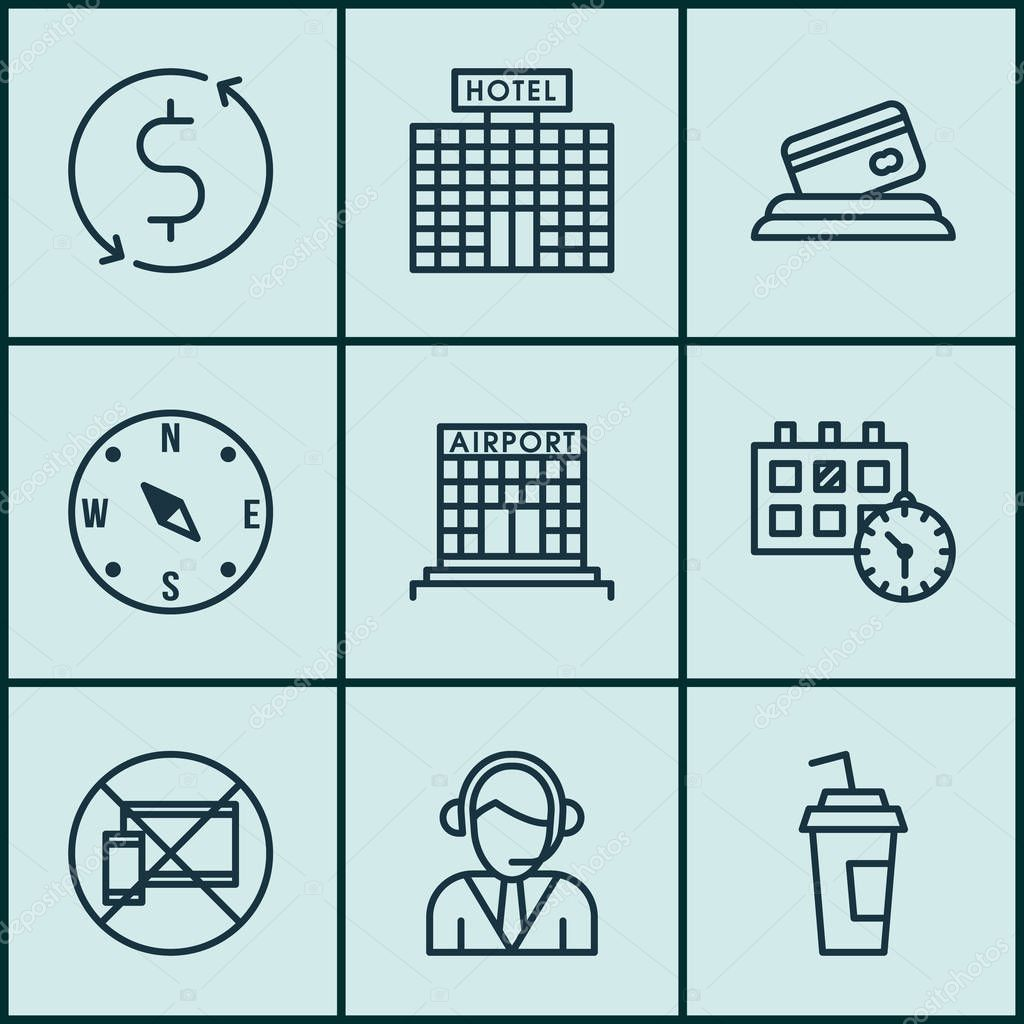 Set Of Traveling Icons On Operator, Airport Construction And Appointment Topics. Editable Vector Illustration. Includes Payment, Map, Center And More Vector Icons.