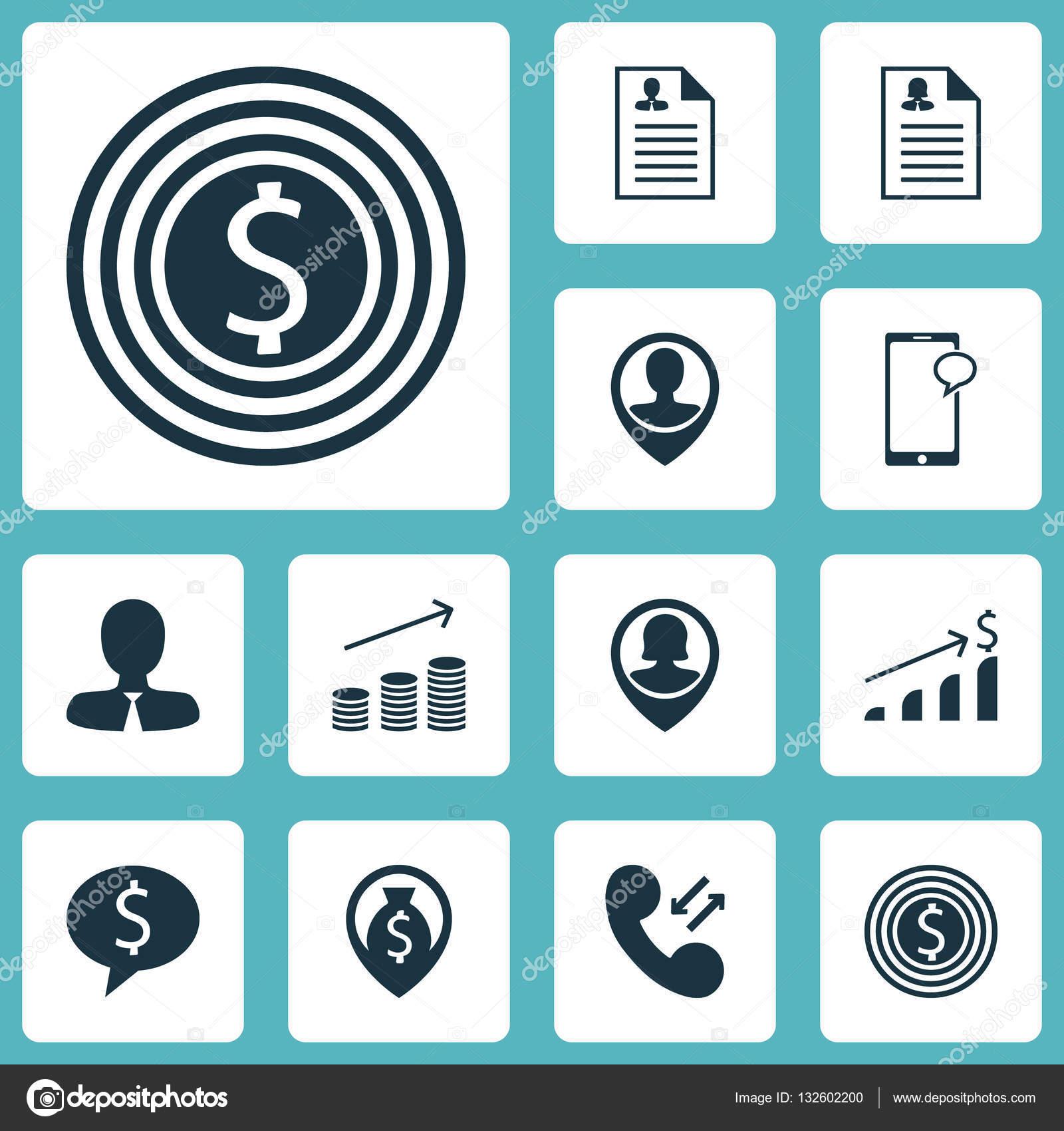 Conjunto de iconos de gestión objetivo empresarial, Curriculum ...