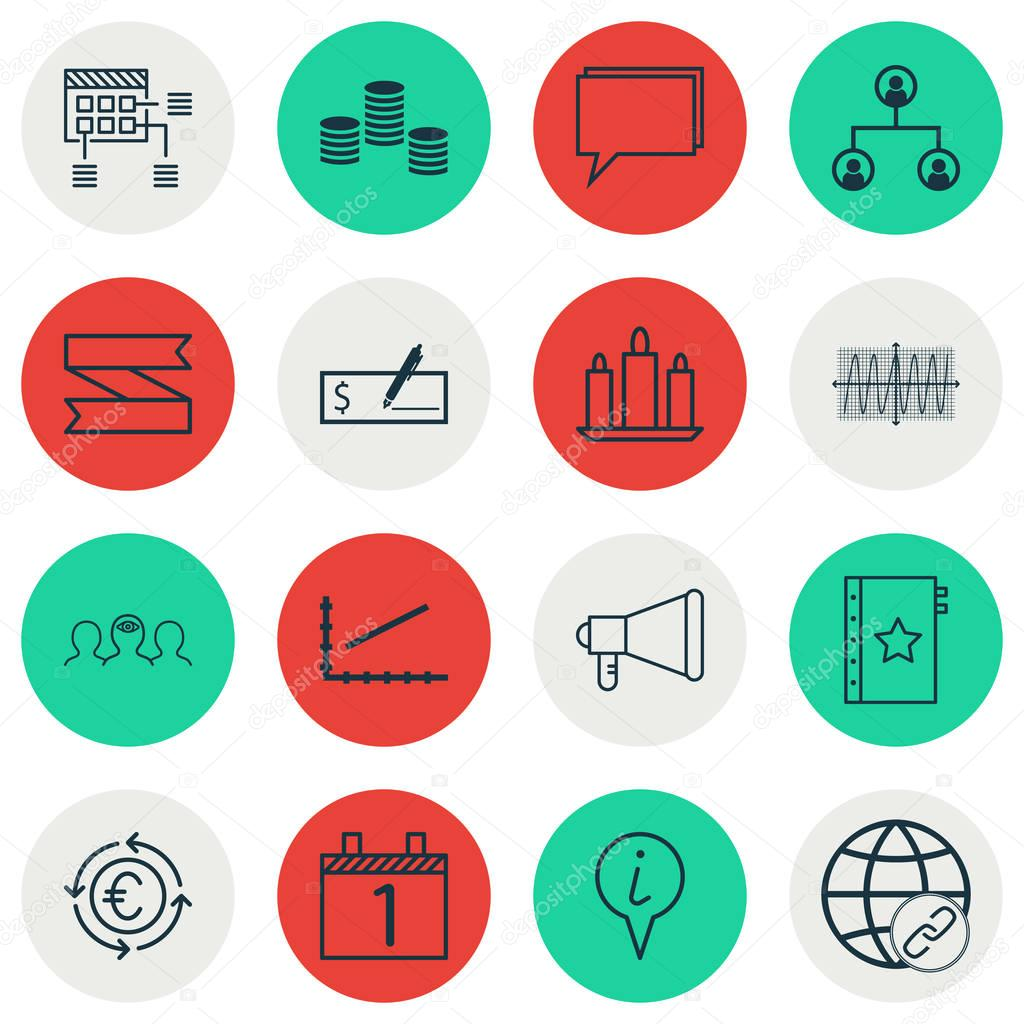 Set Of 16 Universal Editable Icons. Can Be Used For Web, Mobile And App Design. Includes Icons Such As Cosinus Diagram, Coaching, Agenda And More.